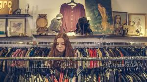 Woman looking at clothes in a store